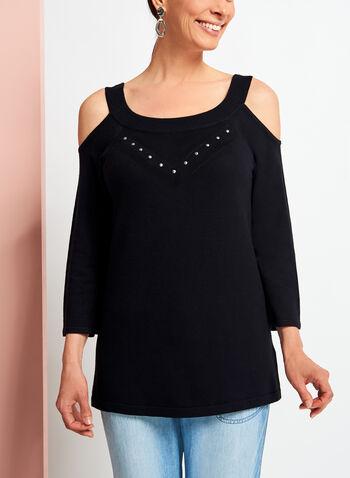 Pointelle Detail Cold Shoulder Sweater, Black, hi-res