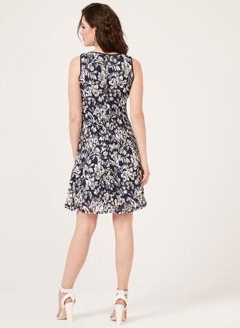 Lace Fit & Flare Dress, Blue, hi-res