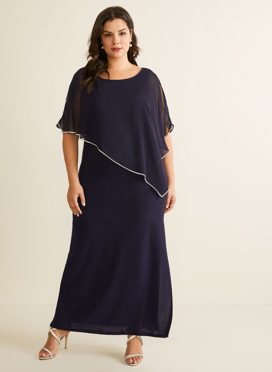 Crystal Detail Poncho Dress, Blue