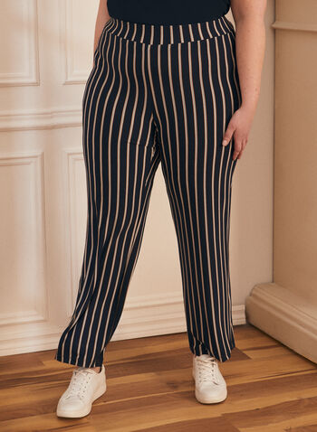 Stripe Print Wide Leg Pants, Blue,  pants, wide leg, stripe print, spring summer 2020
