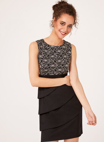 Sequin Lace Tiered Contrast Dress, , hi-res