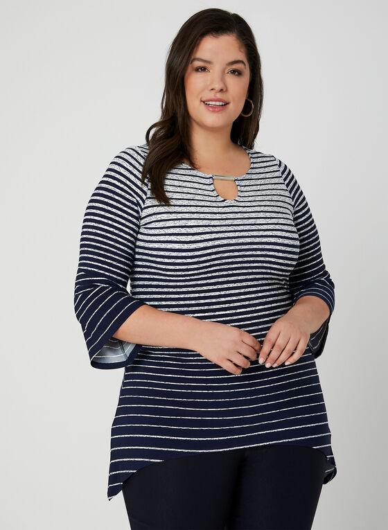 Tunique à rayures en jersey, Bleu, hi-res