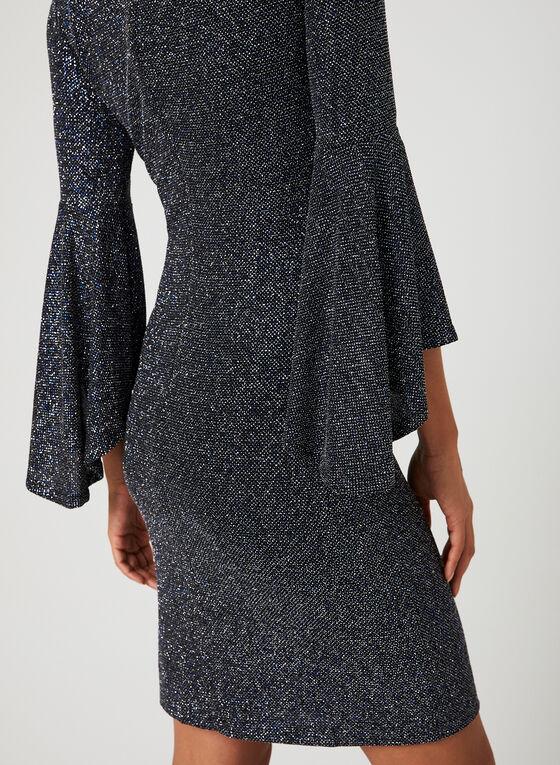 Bell Sleeve Sparkle Dress, Blue, hi-res