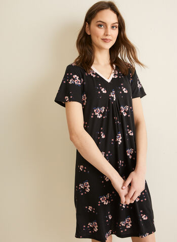 Comfort & Co. - Floral Print Nightgown, Black,  spring summer 2020, nightgown, night shirt, pyjama