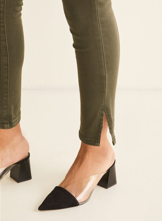 Slit Slim Leg Jeans, Green