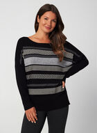 Printed Dolman Sleeve Sweater, Black