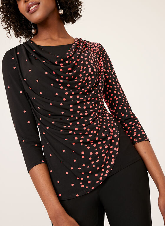 Dot Print Faux Wrap Top, Black, hi-res