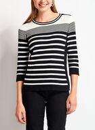 ¾ Sleeve Crew Neck Sweater, Black, hi-res