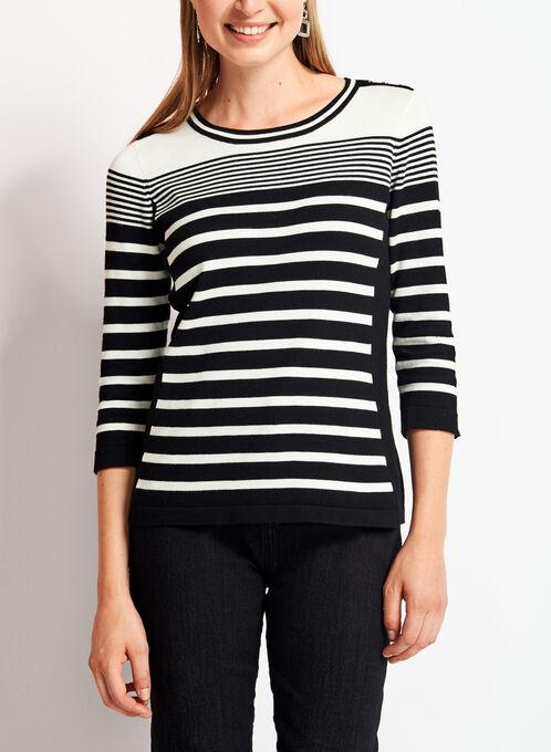 3/4 Sleeve Crew Neck Sweater, Black, hi-res