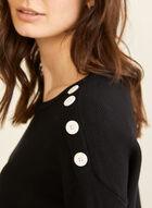 Contrast Trim Knit Sweater , Black