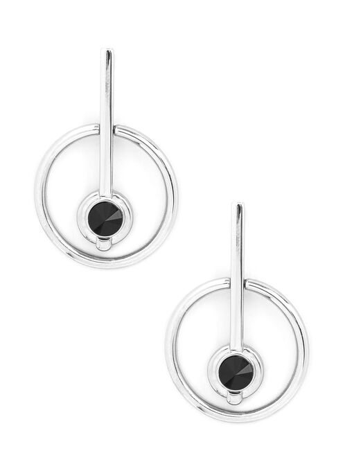 Circle Dangle Center Earrings, Black, hi-res