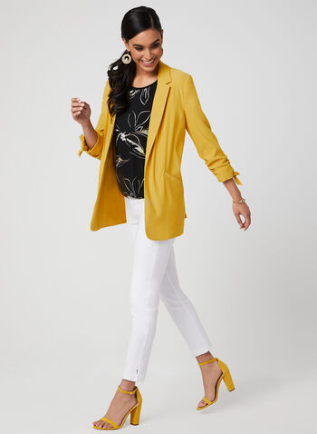 ¾ Sleeve Notch Collar Blazer, Yellow, hi-res,  open front, tie detail, ruching, spring 2019