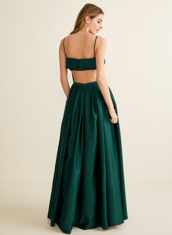 Foldover Satin Ball Gown, Green