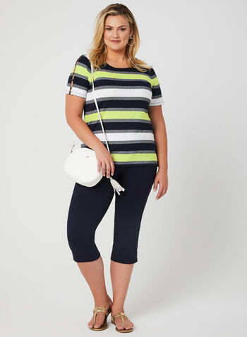 Stripe Print T-Shirt, Blue, hi-res,  stretchy, short sleeves, cutouts, spring 2019