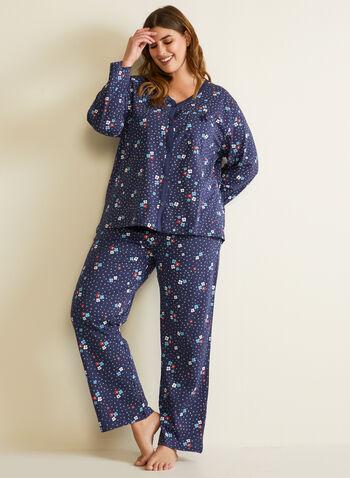 Ensemble pyjama à motif fleuri, Bleu,  automne hiver 2020, pyjama, ensemble