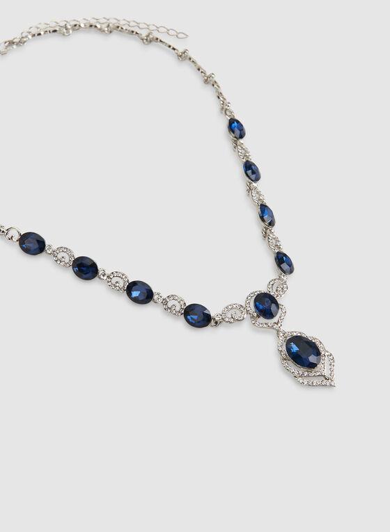 Collier court à cristaux et pierres facettées, Bleu
