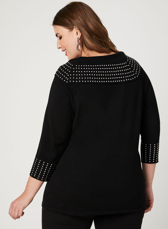 Marilyn Neck Knit Sweater, Black, hi-res