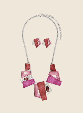 Geometric Stone Necklace & Earrings, Pink,  necklace, stone, geometric, chain, earrings, set, fall winter 2020