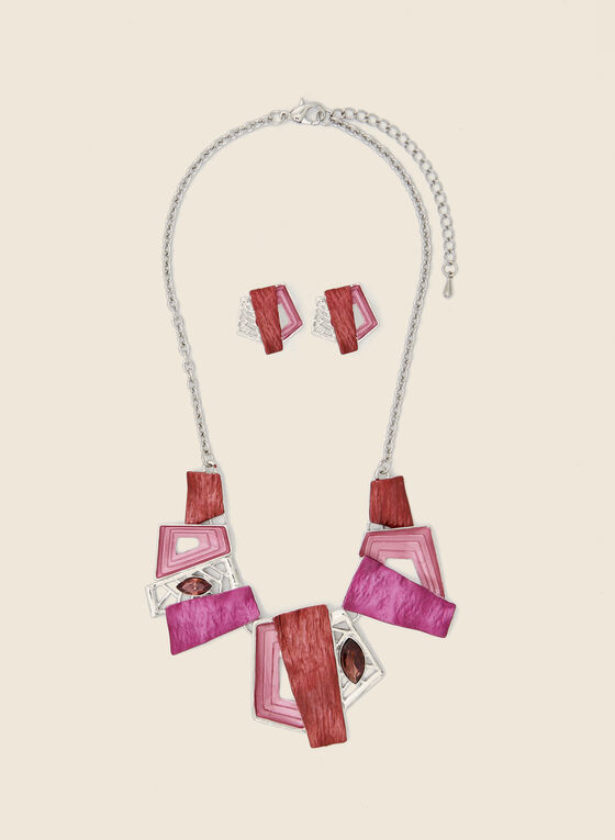 Geometric Stone Necklace & Earrings, Pink