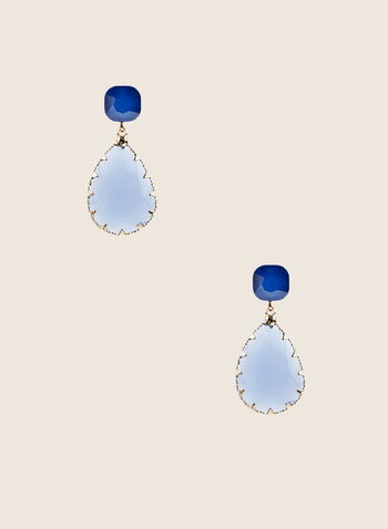 Teardrop Pendant Earrings, Blue,  earrings, teardrop, blue, gold, stones, spring summer 2020