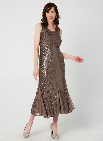 Sleeveless Sequin Dress, Brown, hi-res,  evening gown, dress, sleeveless, sequins, beads, mesh, fall 2019, winter 2019