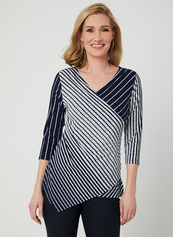 Stripe Print Faux Wrap Top, Blue, hi-res