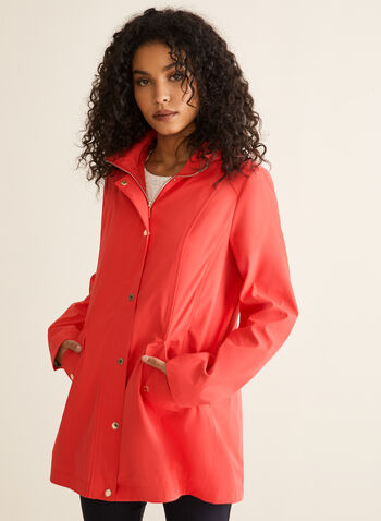 Removable Hood Raincoat, Orange,  coat, raincoat, rainwear, hood, zipper, button, pockets, high collar, spring summer 2020