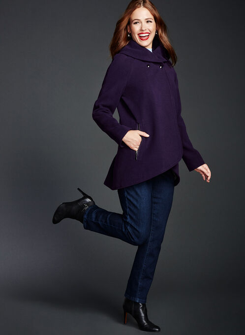 Wool-Like Shawl Neck Coat, Purple, hi-res