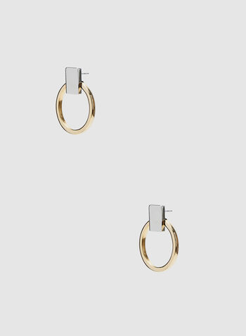 Stud Hoop Earrings, Yellow, hi-res