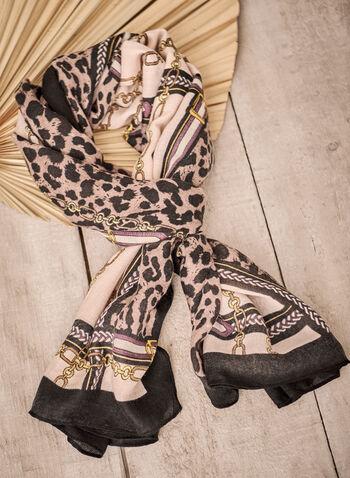 Foulard léger à motif animalier et chaînes, Noir,  accessoire, foulard, motif, imprimé, chaînes, animal, animalier, contrastes, automne 2021