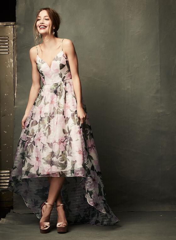 Robe fleurie en organza avec jupon, Rose, hi-res