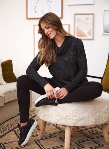 Tunique en tricot à col bénitier , Gris,  fait au canada, encolure cheminée, tunique, tricot, manches longues, ourlet asymétrique, haut, automne hiver 2020
