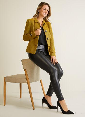 Blazer boutonné en tricot à col chemisier, Jaune,  blazer, boutons, col chemisier, tricot bouclé, automne hiver 2020