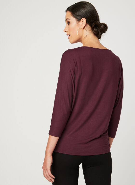 Embroidered Dolman Sleeve Top, Red, hi-res