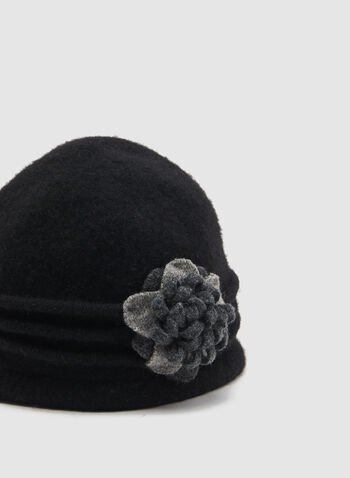 Floral Detail Wool Hat, Grey, hi-res