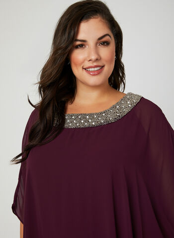 Chiffon Poncho Dress, Red, hi-res