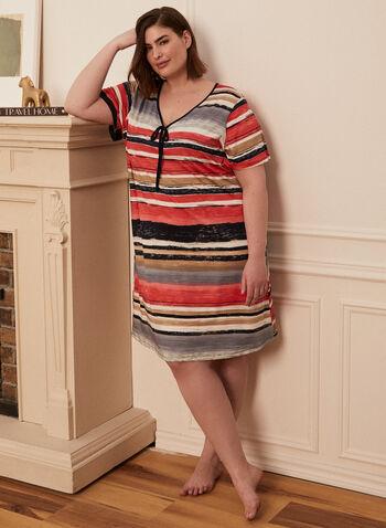 Printed Tie Neck Nightgown, Orange,  nightgown, sleepwear, pyjamas, stripe print, leaf print, v-neck, short sleeves, spring summer 2021