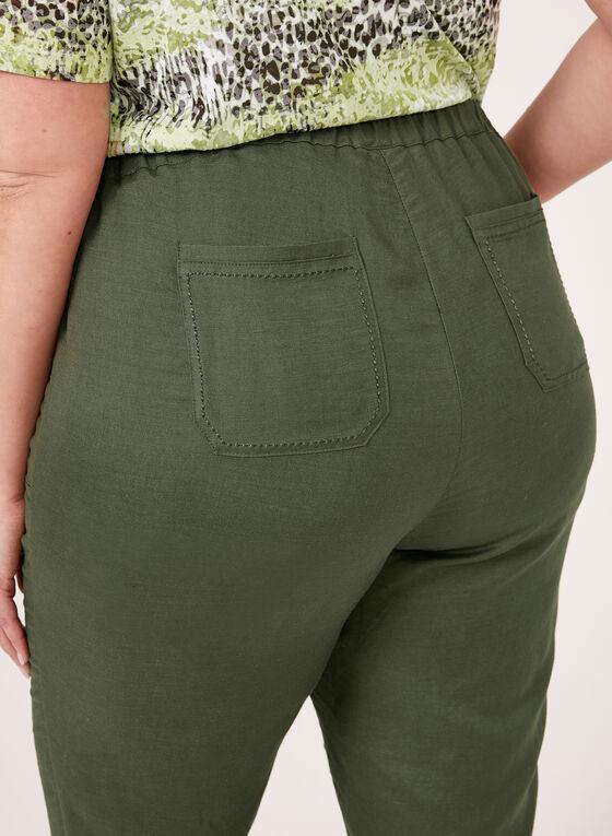 Capri jambe droite en mélange de lin, Vert, hi-res