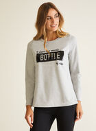 Flip Sequin Detail T-Shirt, Grey