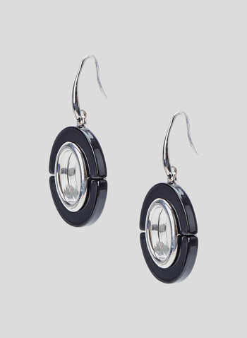 Oval Pendant Dangle Earrings, Black, hi-res