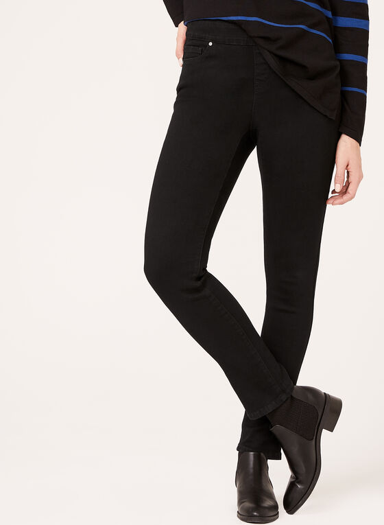Modern Fit Pull-On Slim Leg Jeans, Black, hi-res