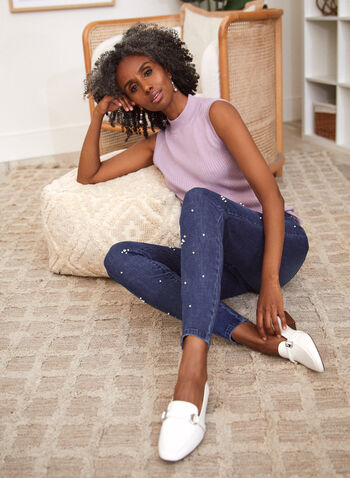 Pearl Embellished Slim Leg Jeans, Blue,  spring summer 2021, jeans, pants, denim, mid rise, slim leg, button, zipper, pearl, crystal, embellishment, detail, design, belt loops, slant pockets, patch pockets, stretch denim
