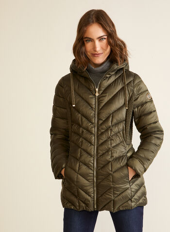 Bernardo - Packable EcoPlume™ Coat, Green,  fall winter 2020, coats, Bernardo, chevron, quilted, synthetic, down, hood, long sleeves