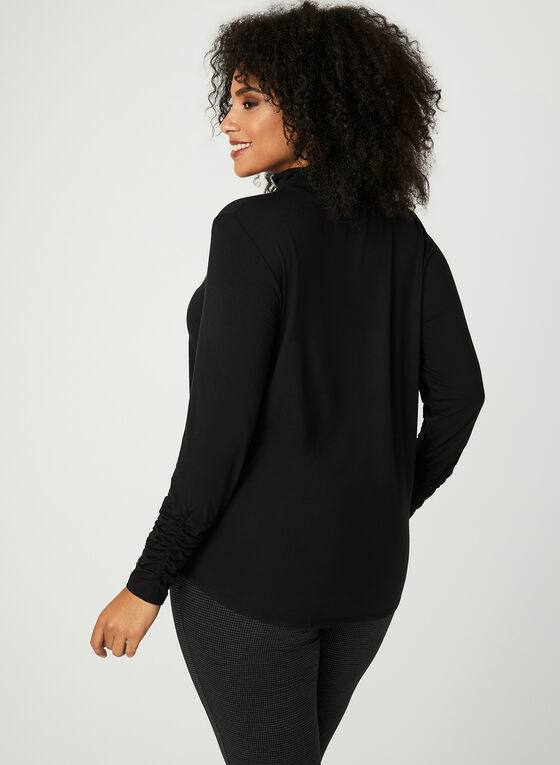 Ruched Mock Neck Top, Black