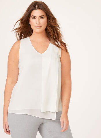 Layered Capelet Front Popover Blouse, Off White, hi-res