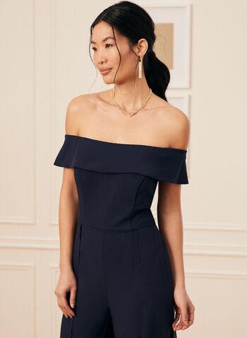 Bardot Neckline Jumpsuit, Blue,  jumpsuit, bardot, chiffon, crepe, short sleeves, off the shoulder, straight leg, spring summer 2020