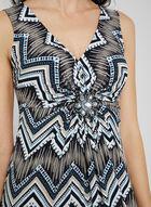 Zigzag Print Maxi Dress, Blue