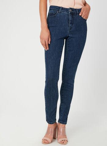 Jeans à sequins et cristaux, Bleu, hi-res,  jeans, signature, jambe droite, sequins, strass, coton, poches, automne hiver 2019