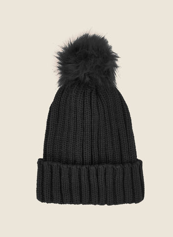 Removable Pom Pom Ribbed Hat, Grey,  fall winter 2020, tuque, hat, knitting, accessory, faux fur, removable