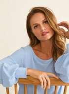 Crepe Balloon Sleeve Blouse, Blue